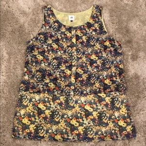 Cabi Floral Sleeveless Blouse with Sheer Overlay
